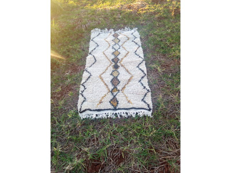 Yellow, Black Beni Ourain Rug