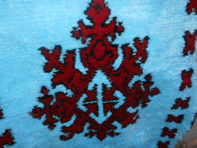 Red, Light Blue Pile Knot Rug