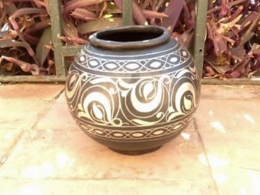 Bowl Steel and Silver Black, White Morocco