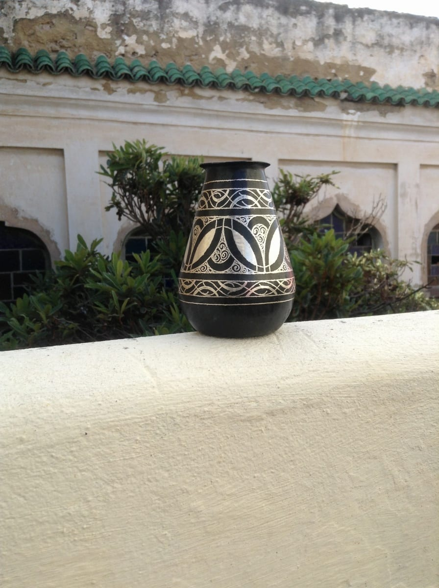 Vase Steel and Silver Black, White Morocco