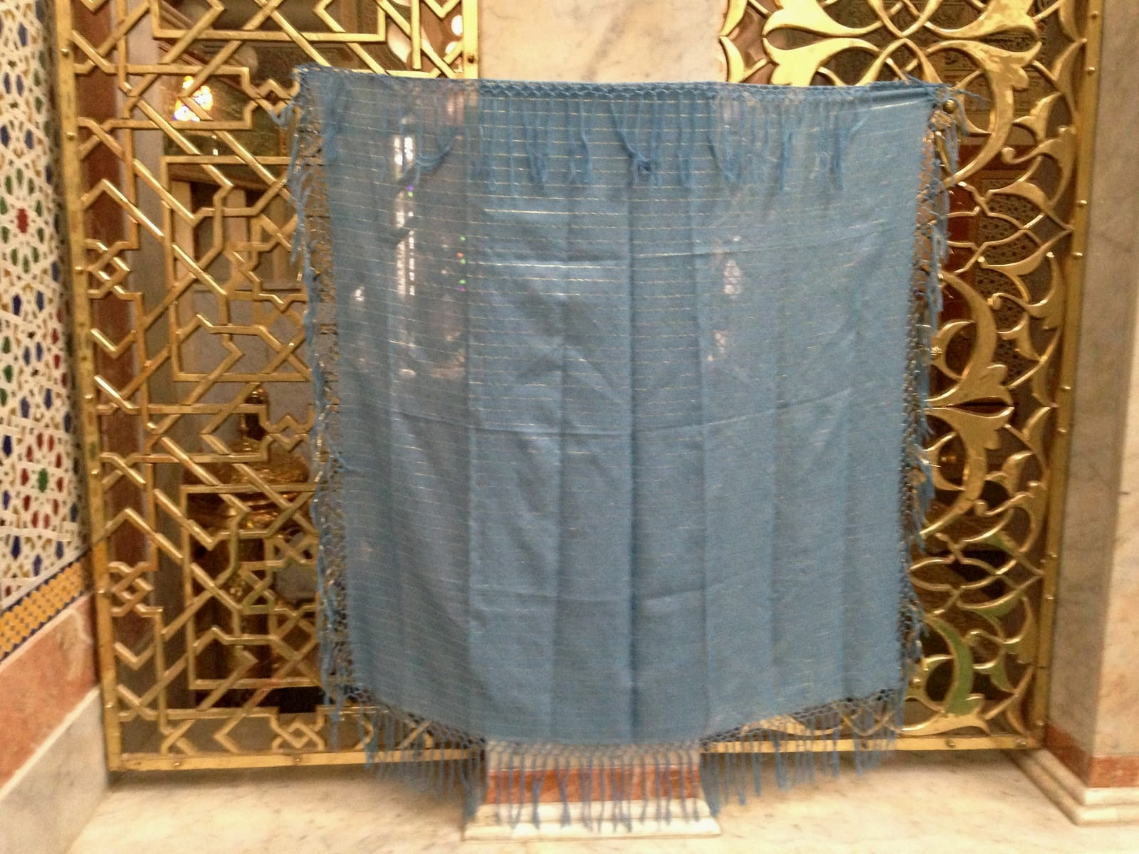 Scarf Cotton string Light Blue, Yellow Morocco
