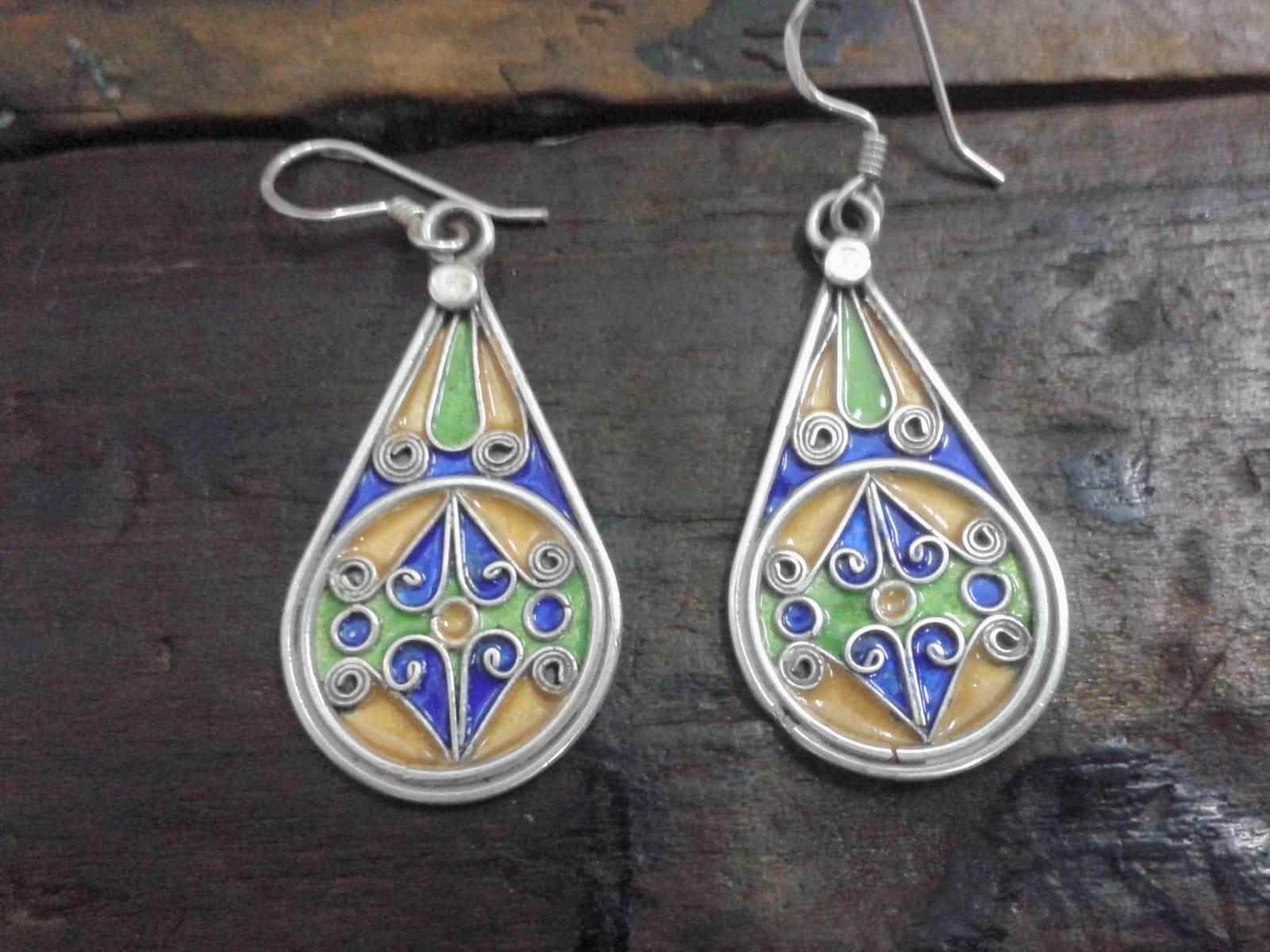Earrings 800 Tiznit Silver Blue, Yellow Morocco