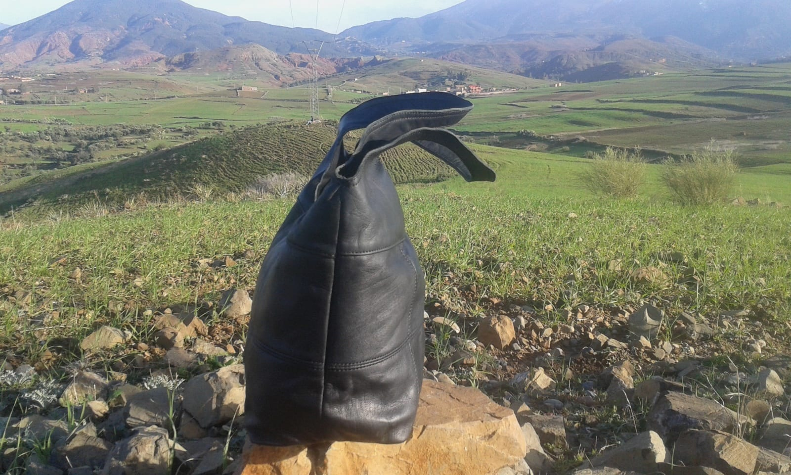 Bags Fabiric and Leather Black Morocco