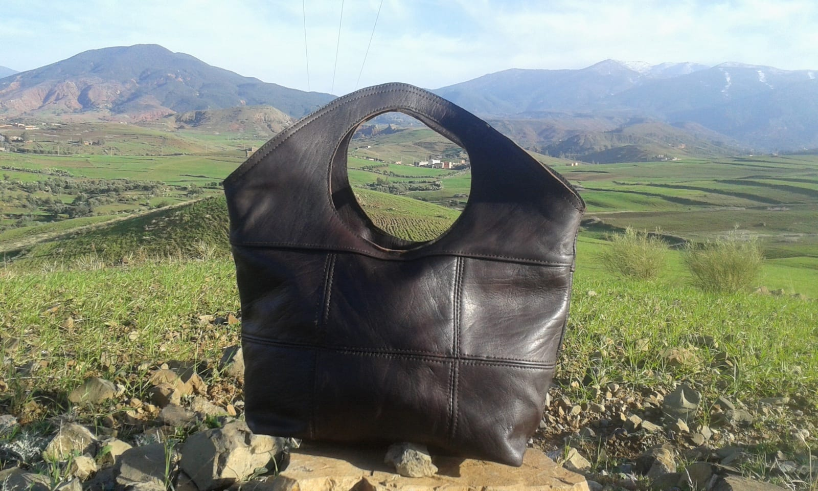 Bags Fabiric and Leather Brown Morocco