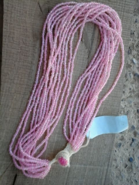Beaded Necklace Thread Pink Morocco