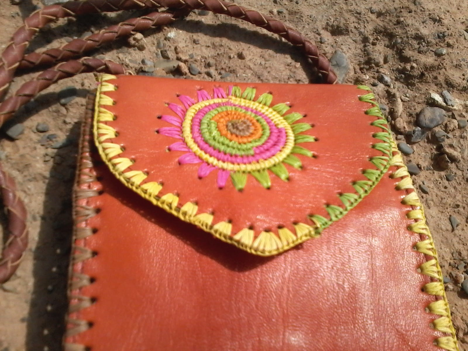 Side Bag Goat Leather Pink, Yellow Morocco