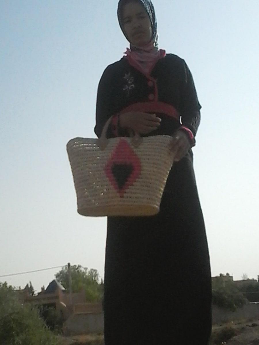 Market Tote Reed Pink, Black Morocco