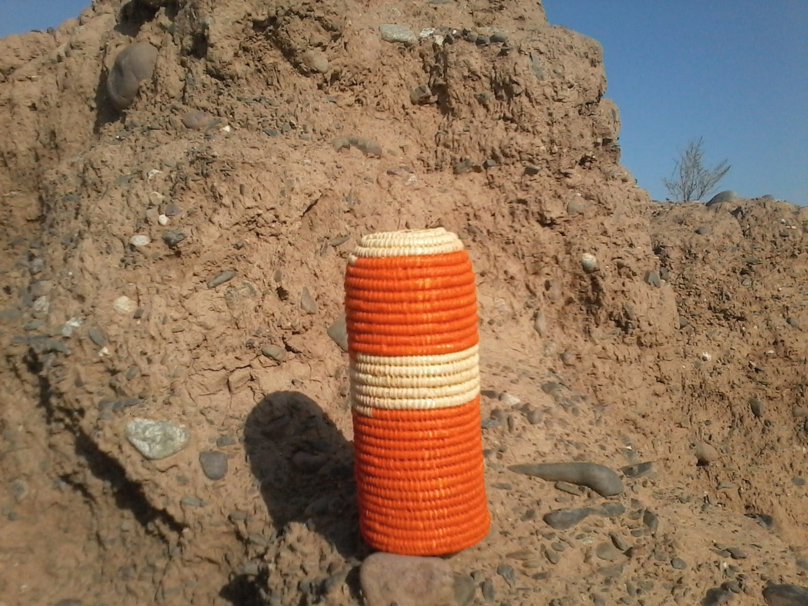 Bottle Holder Rafia Plant Orange, White Morocco