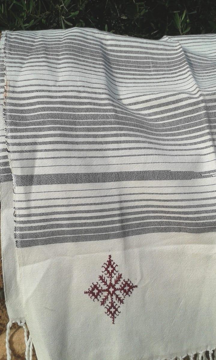 Scarf Cotton Thread Red, Black Morocco