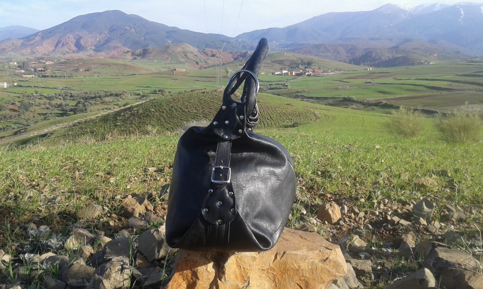 Bags Fabiric and Leather Grey, Black Morocco