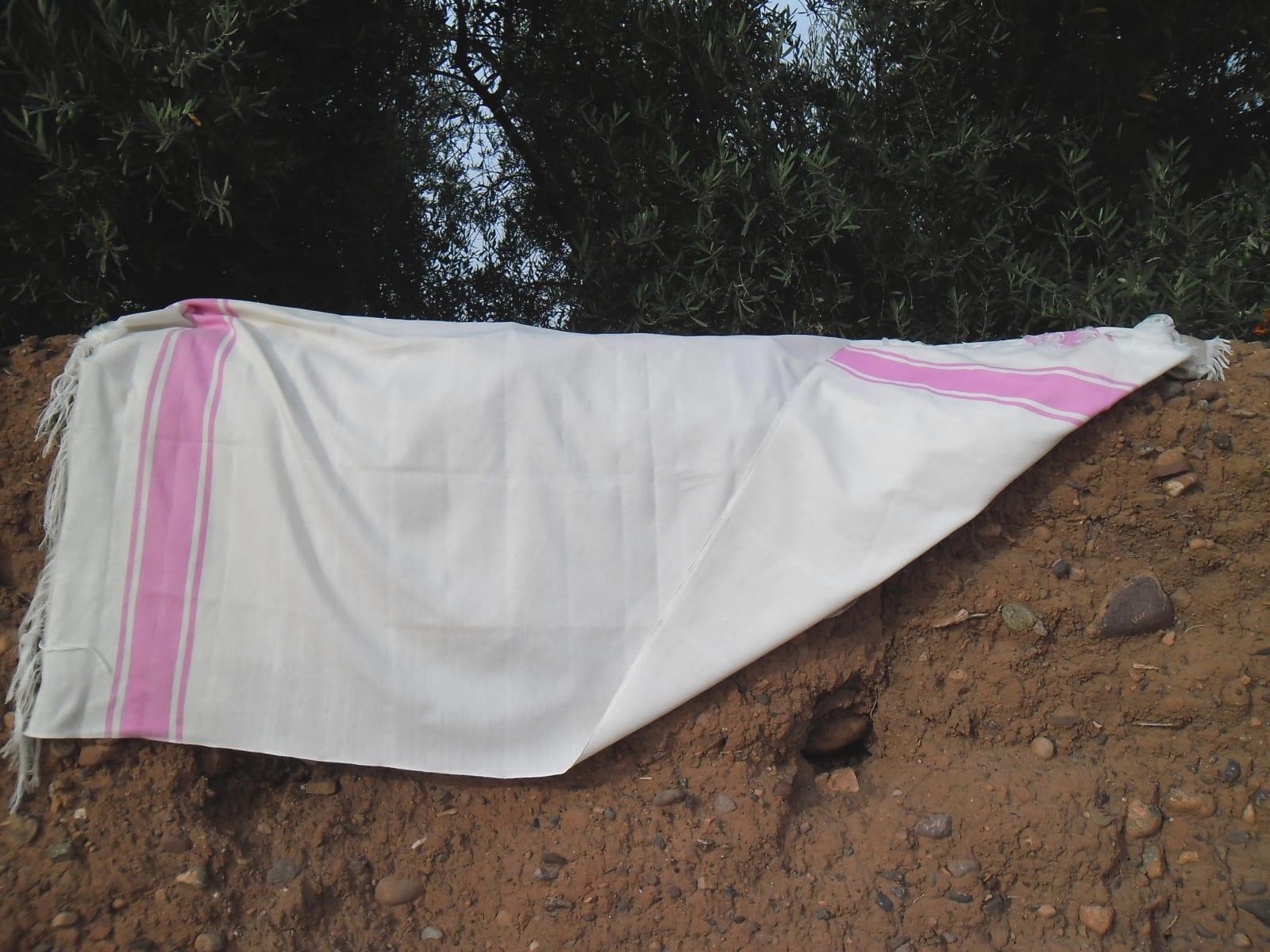 Shawl Cotton Thread Pink, White Morocco