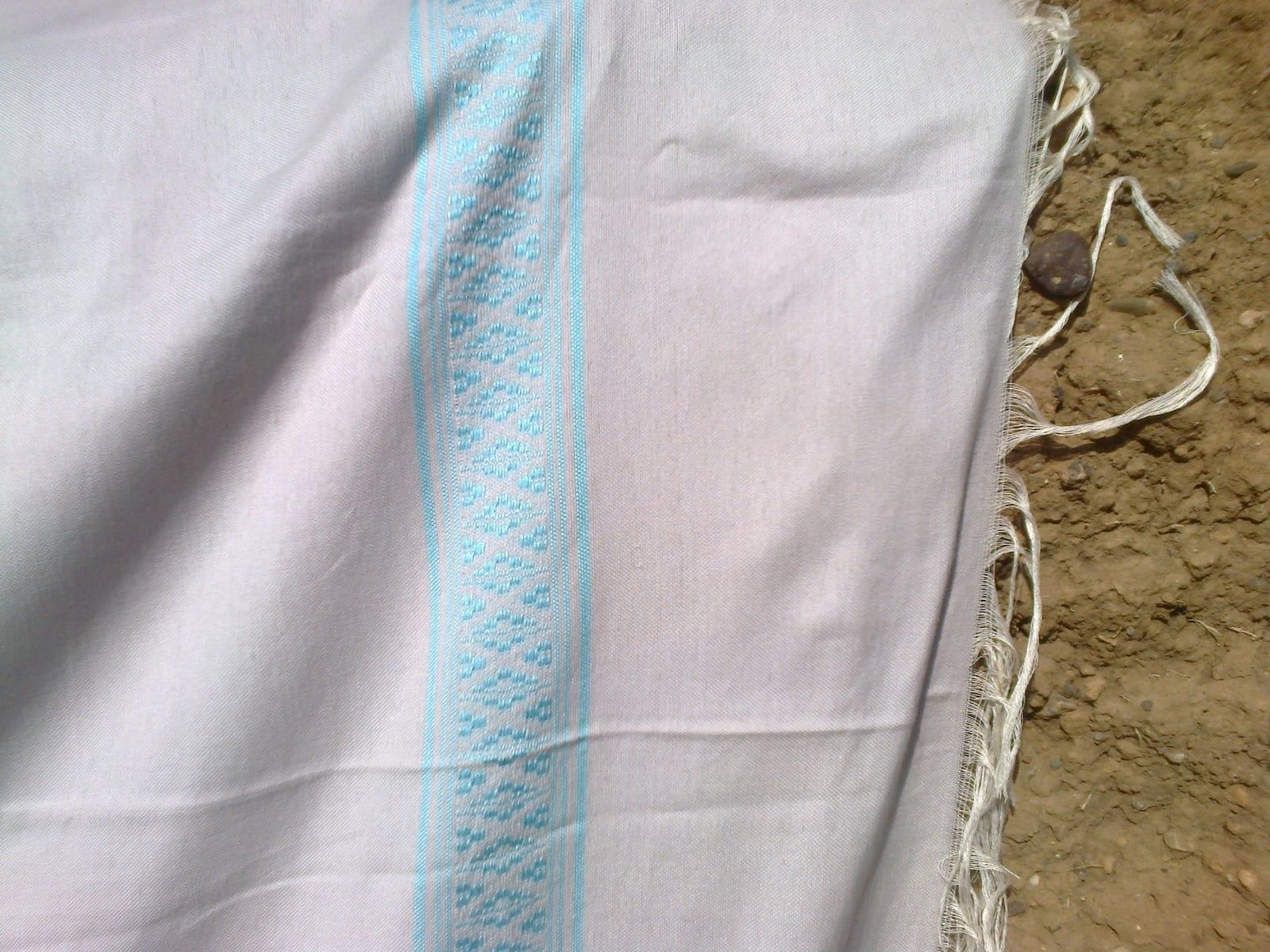 Scarf Cotton Thread Light Blue, Grey Morocco