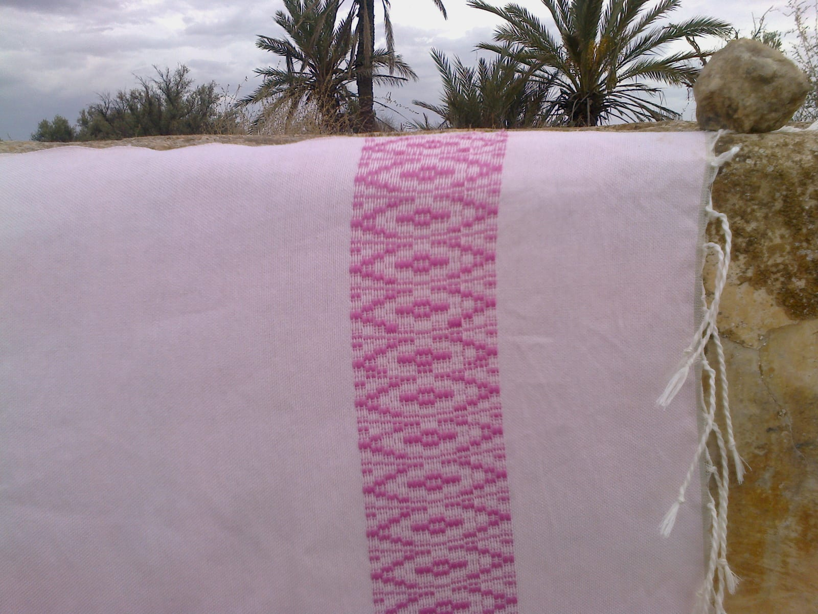 Shawl Cotton Thread Red, Pink Morocco