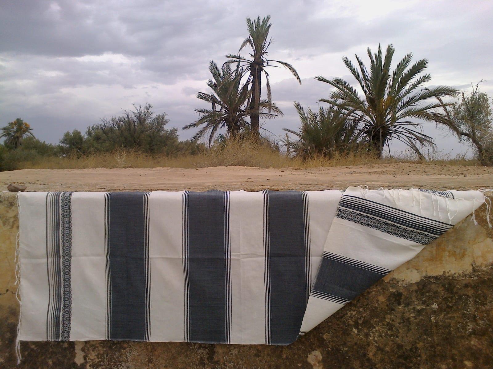 Shawl Cotton Thread Black, White Morocco