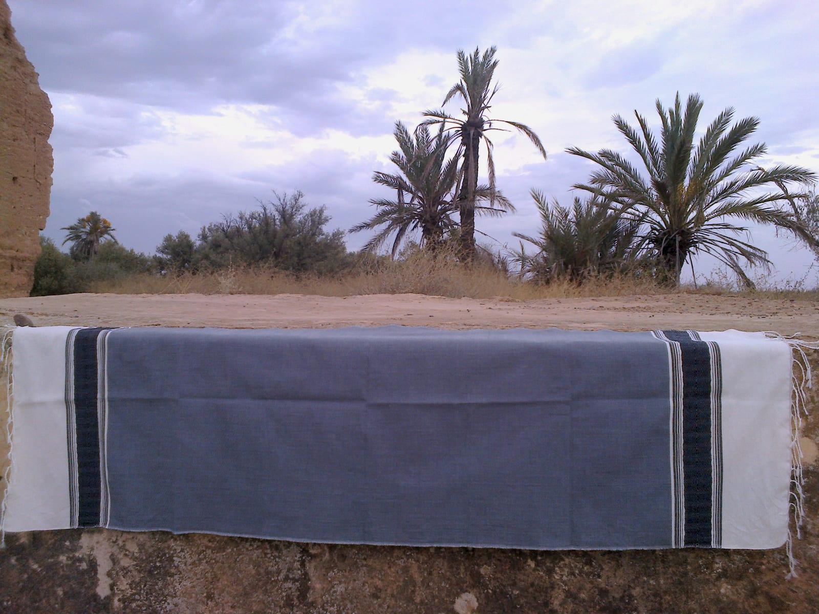Shawl Cotton Thread Grey, Black Morocco