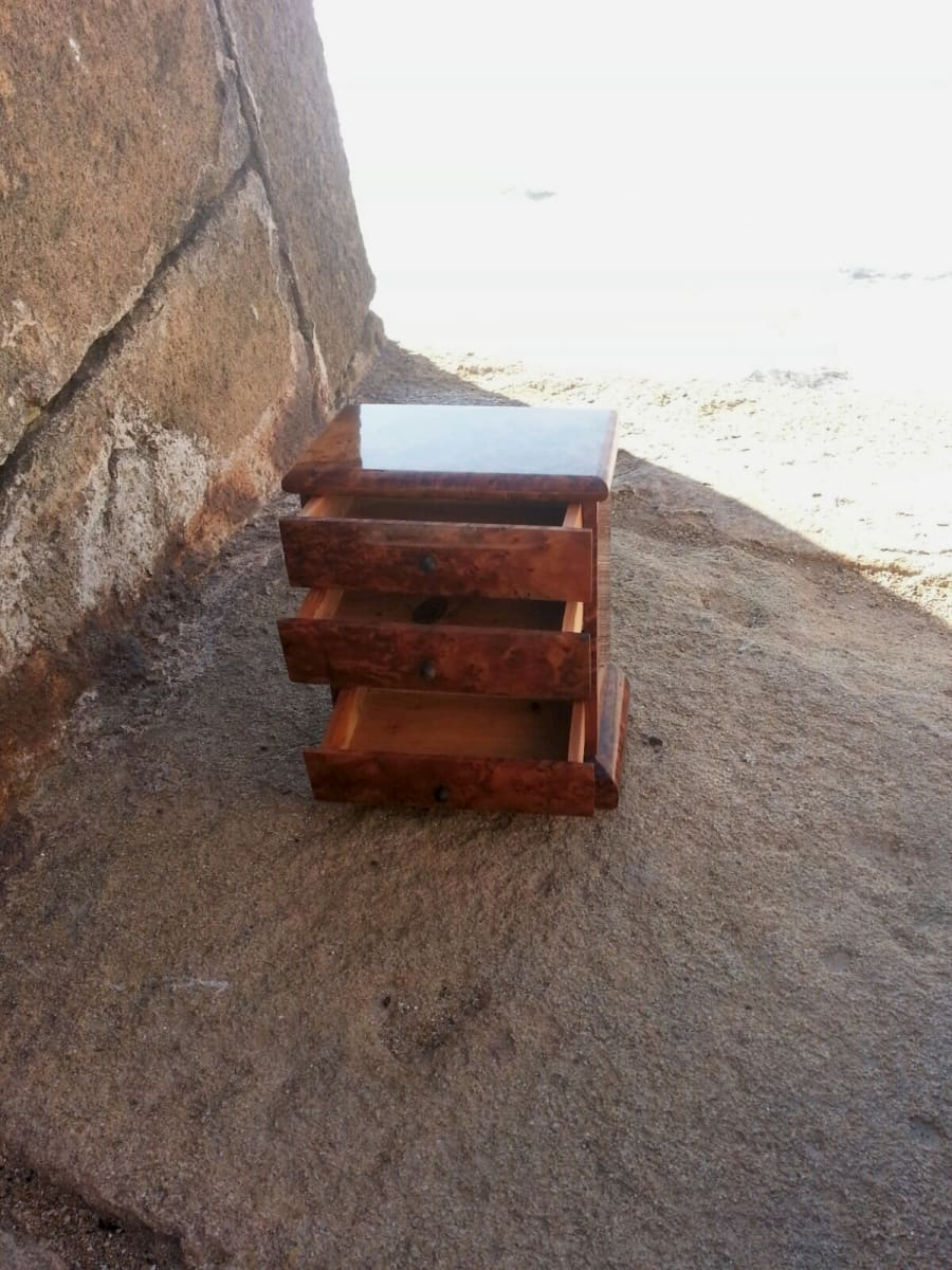 Jewelry Drawer Box Thuja Wood Grey Morocco
