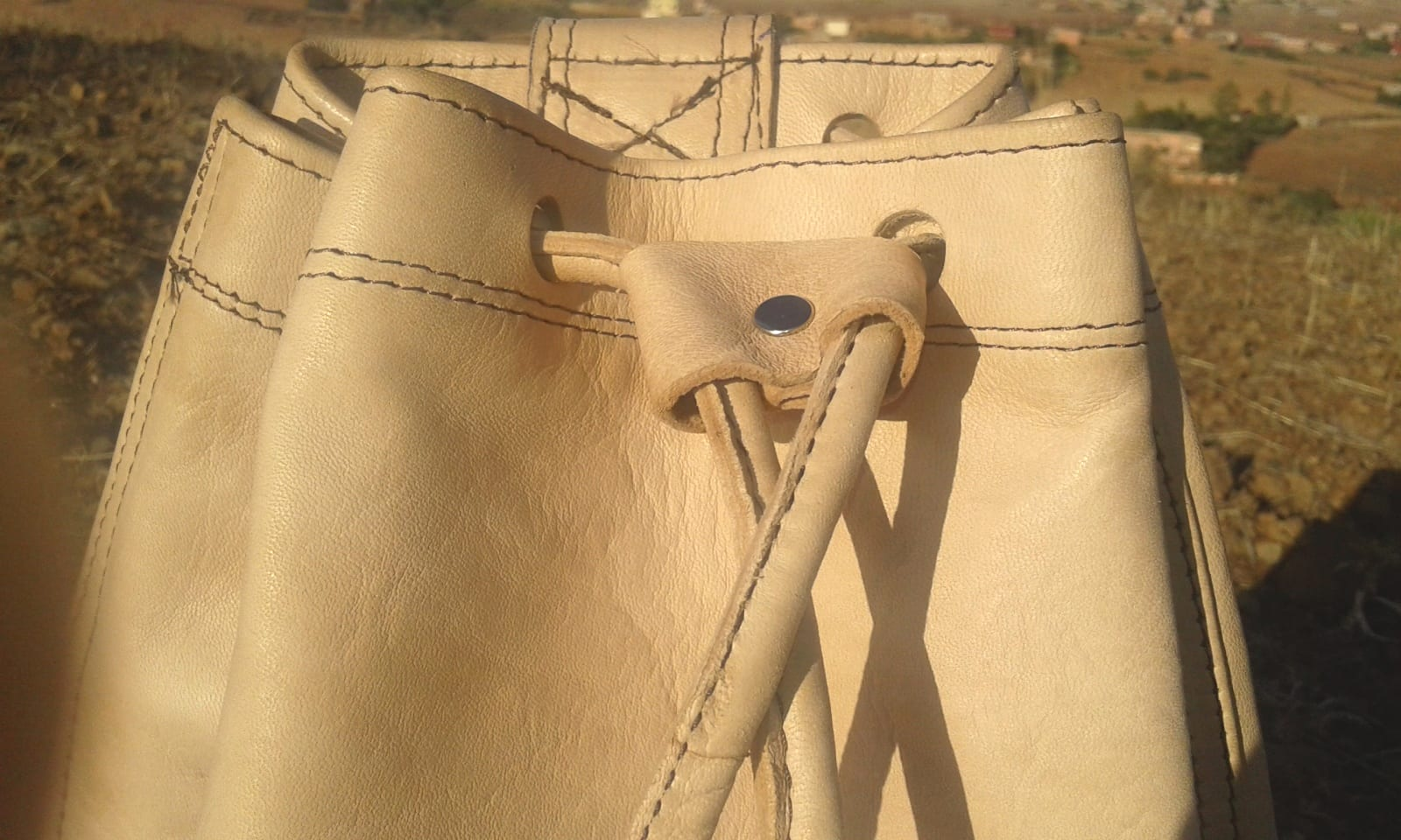 Bags Fabiric and Leather Orange, White Morocco