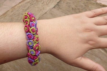 Cluster Bracelet  Purple, Green Morocco