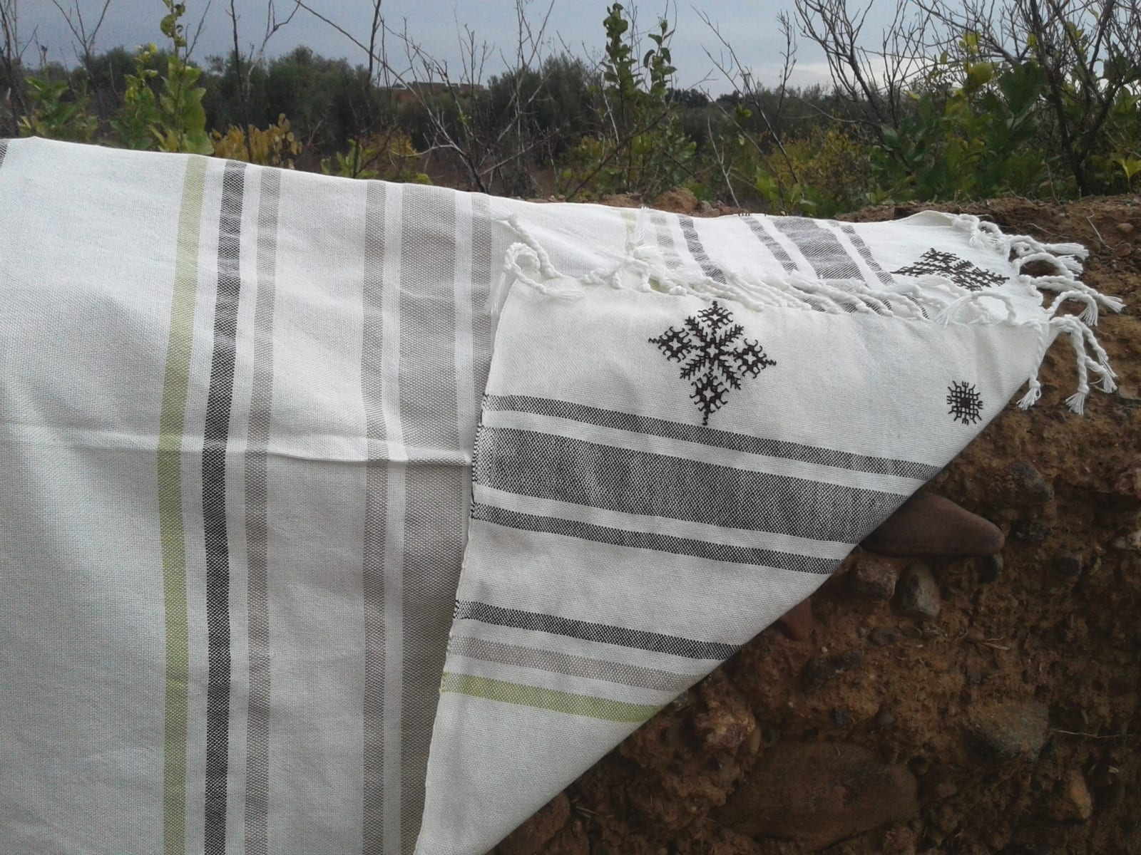 Shawl Cotton Thread Green, Brown Morocco