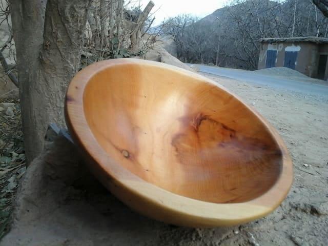 Hand Carved Bowl Juniper Wood Orange Morocco