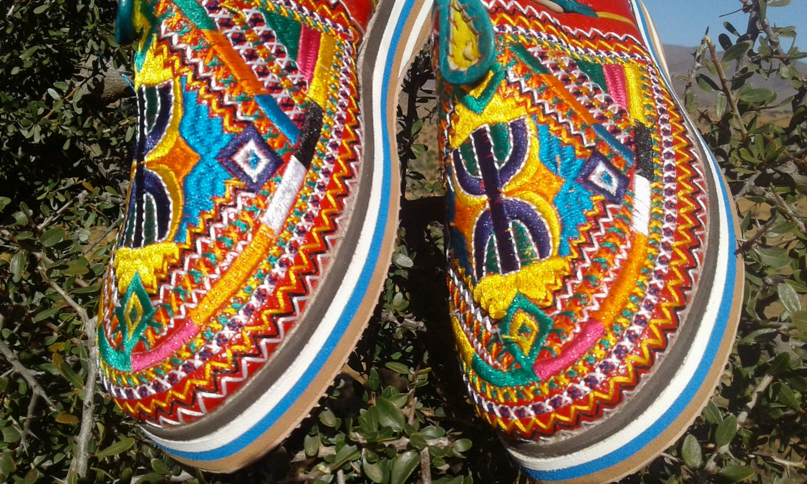 Women's 'Idoukan' Slippers  Colored Morocco
