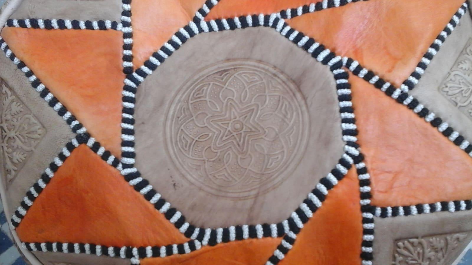 Pouf  Orange, Brown Morocco