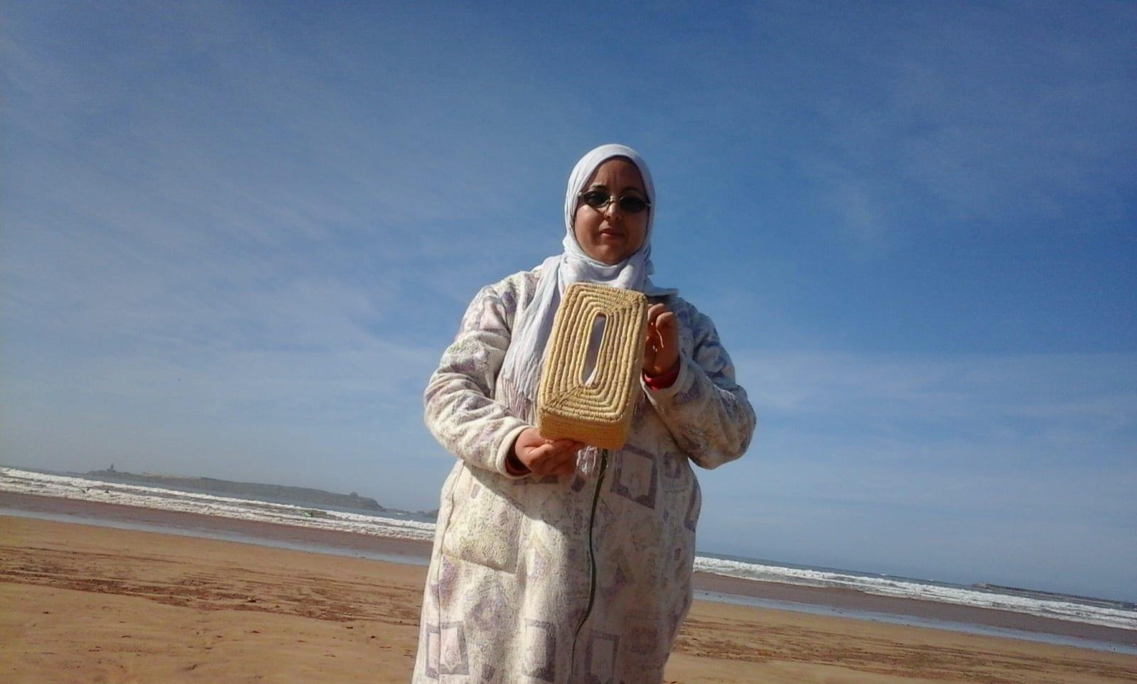 Tissue Box Cover Rafia fibers White Morocco