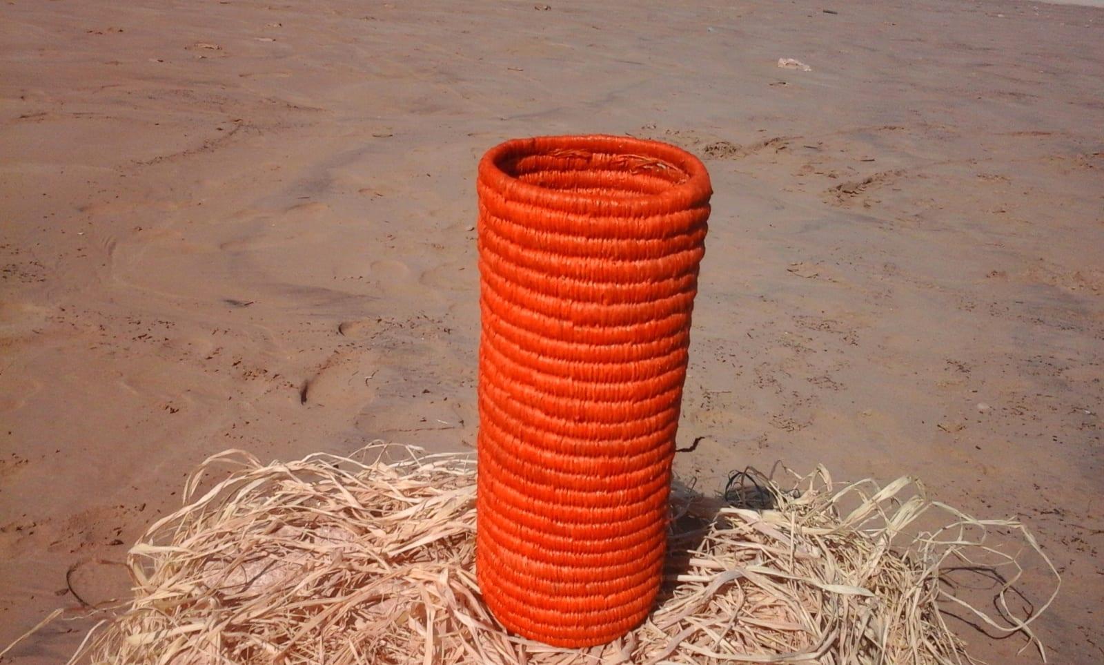 Bottle cover Dyed rafia fibers Orange Morocco