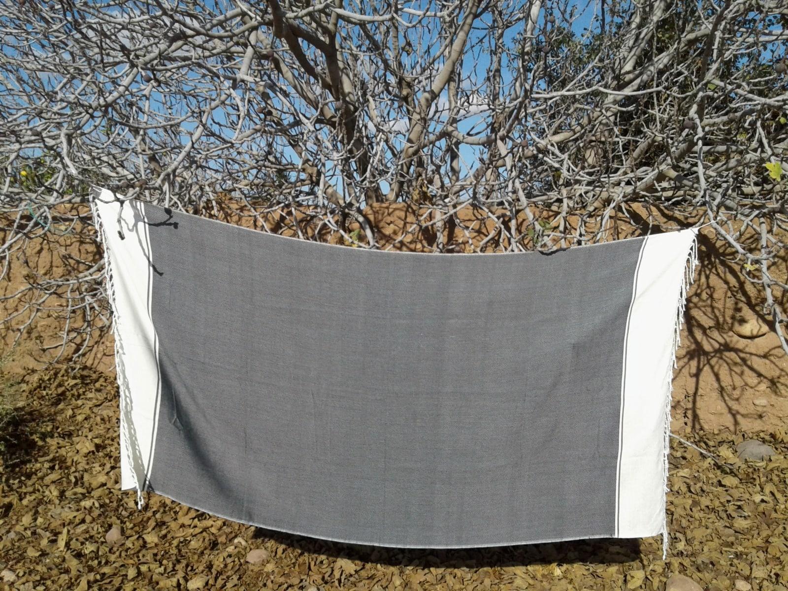 Towel Cotton Thread Black, White Morocco