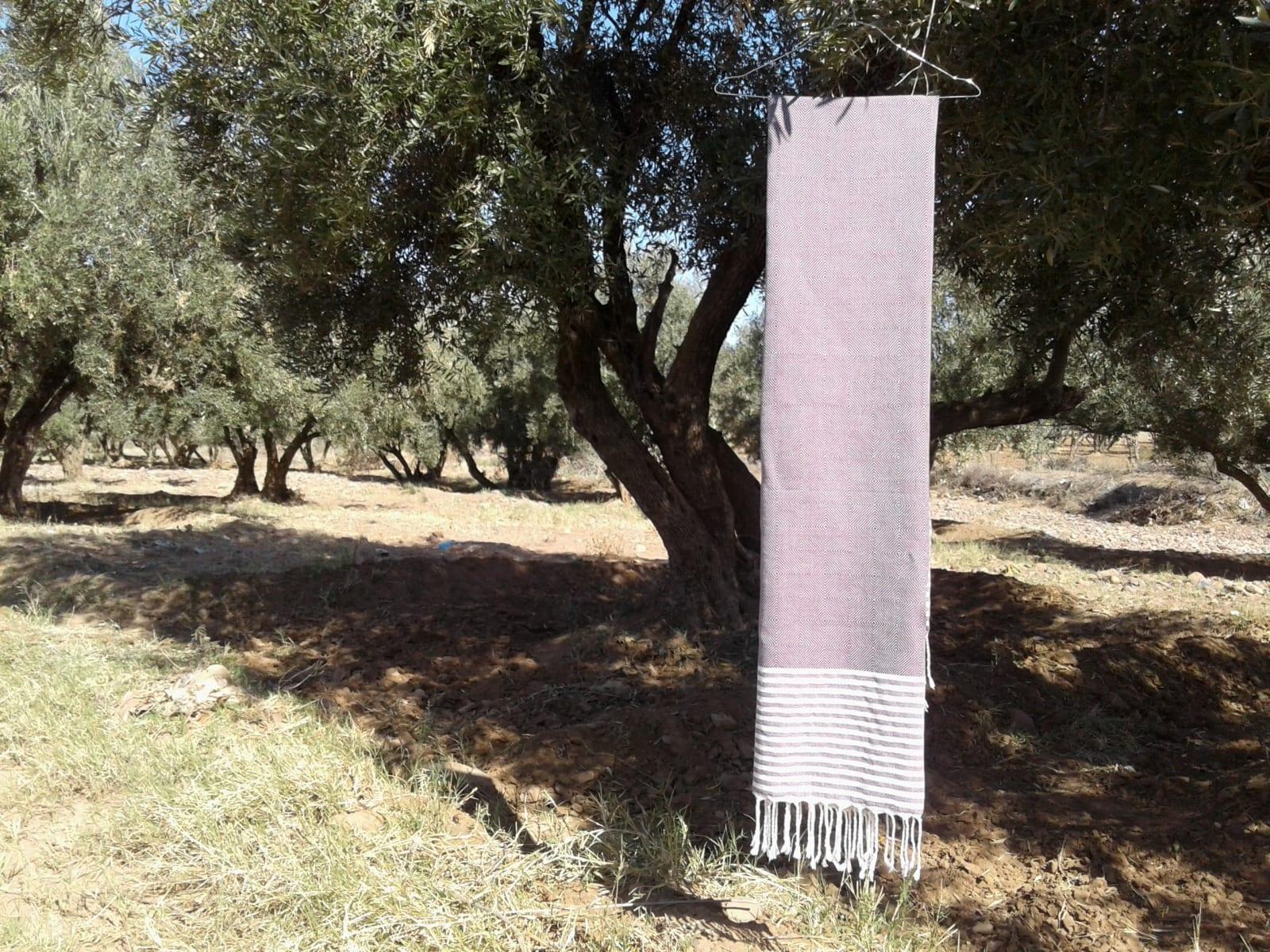 Towel Cotton Thread Purple, White Morocco
