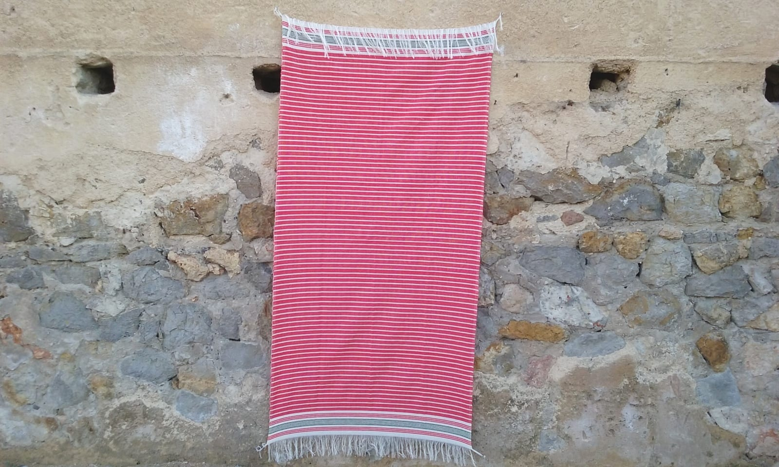 Towel Cotton Red, White Morocco