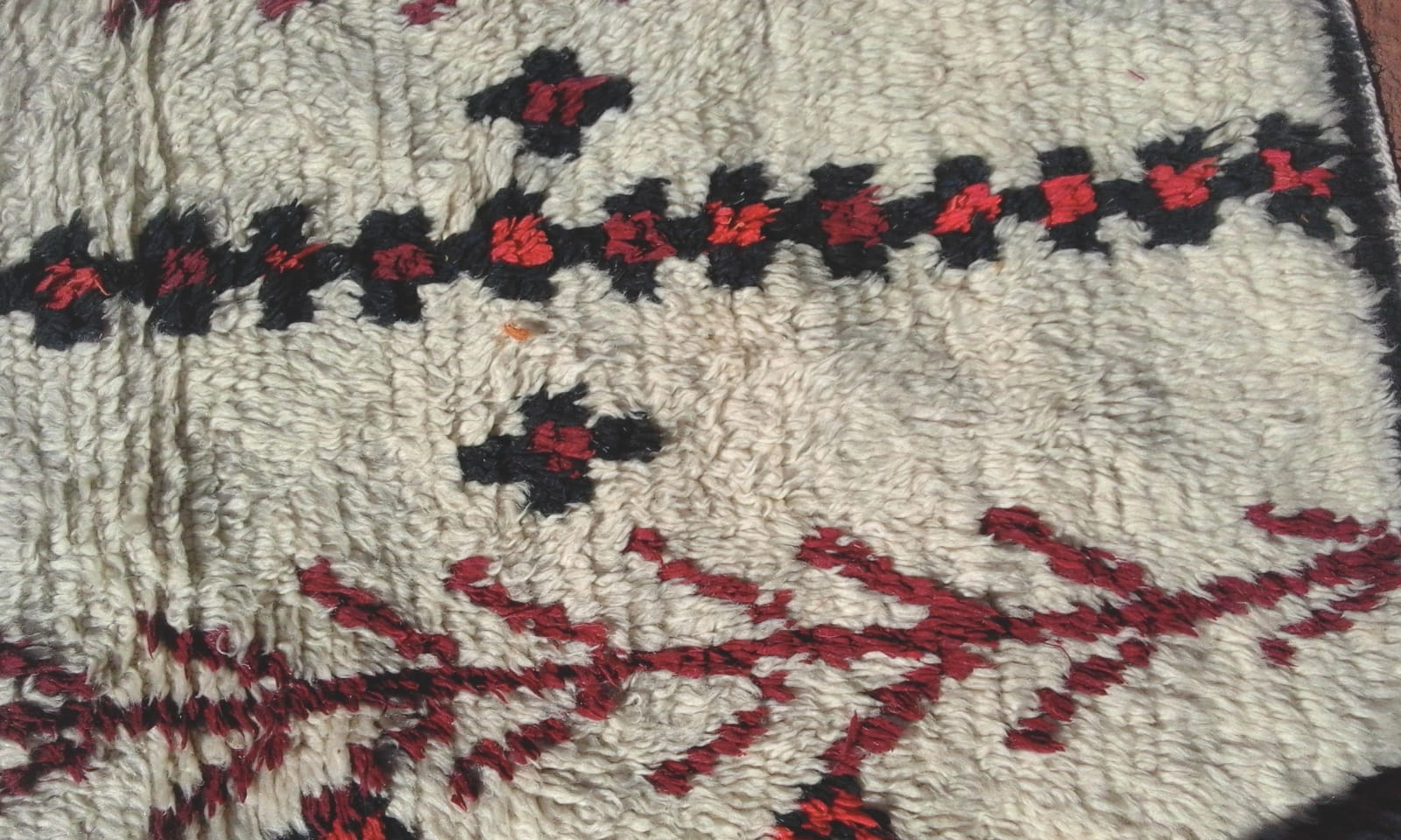 Pile Knot Rug Wool Red, Black Morocco