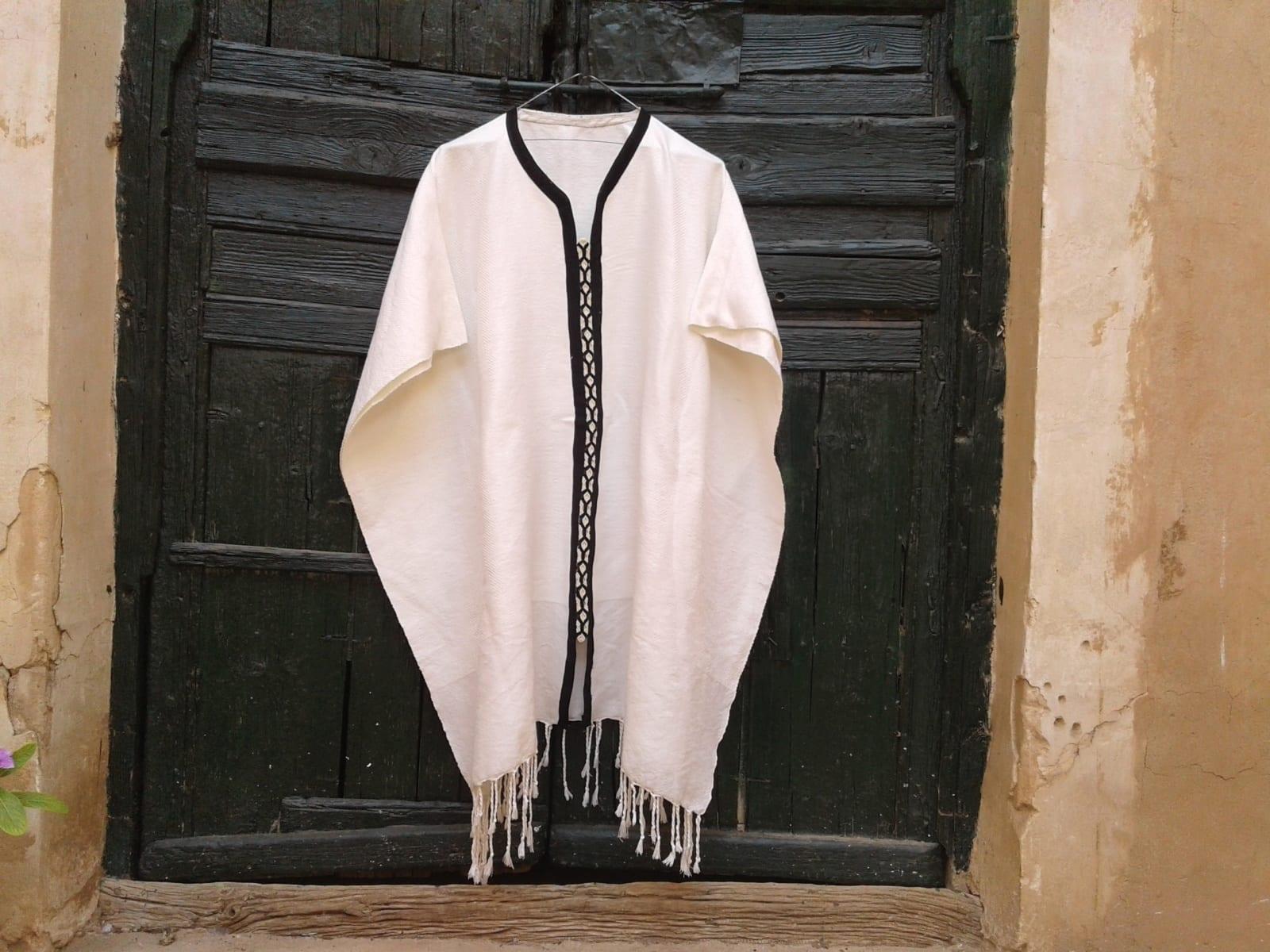 Poncho Cotton Thread Black, White Morocco
