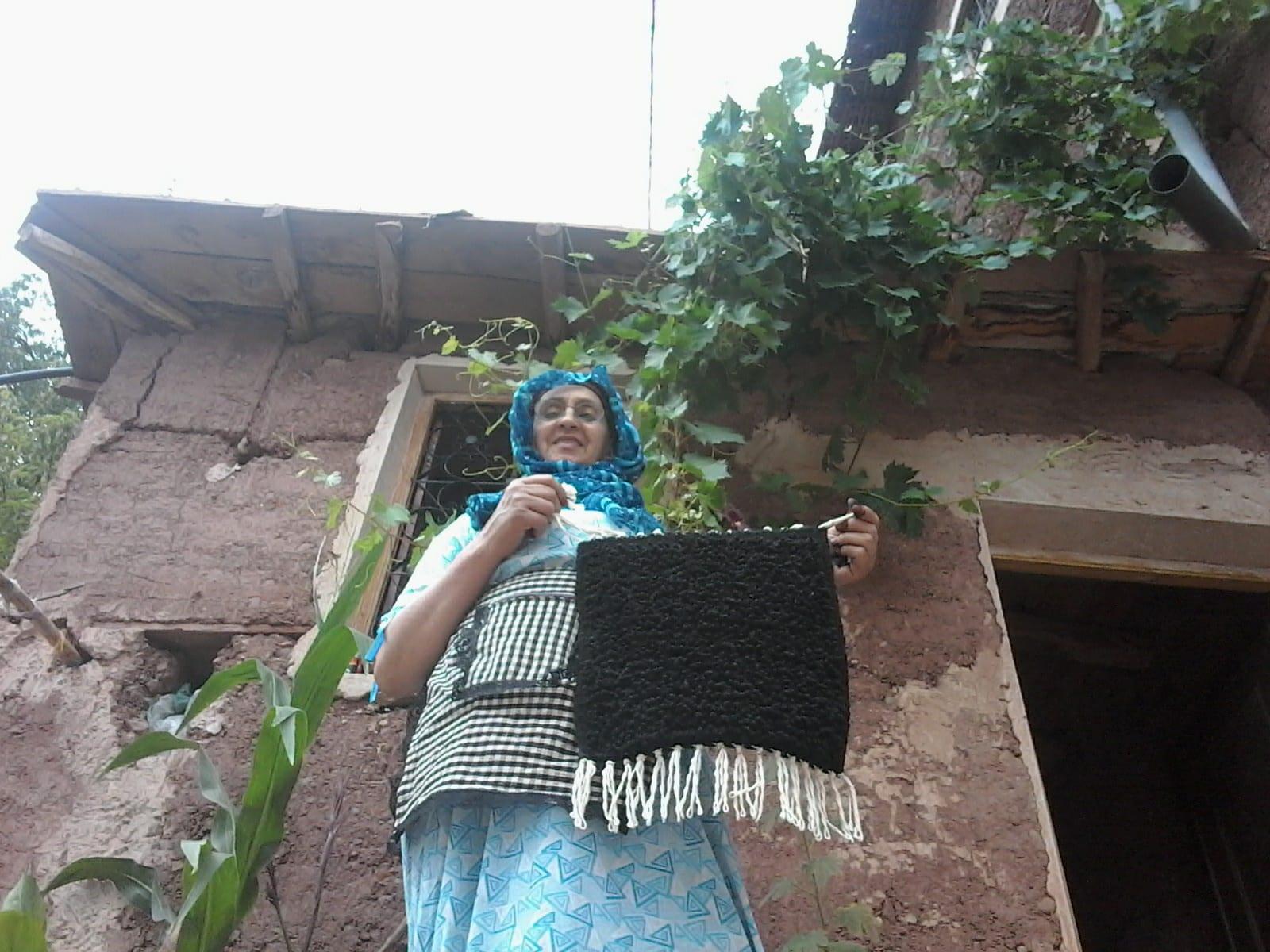 Pile Knot Rug Wool Black Morocco