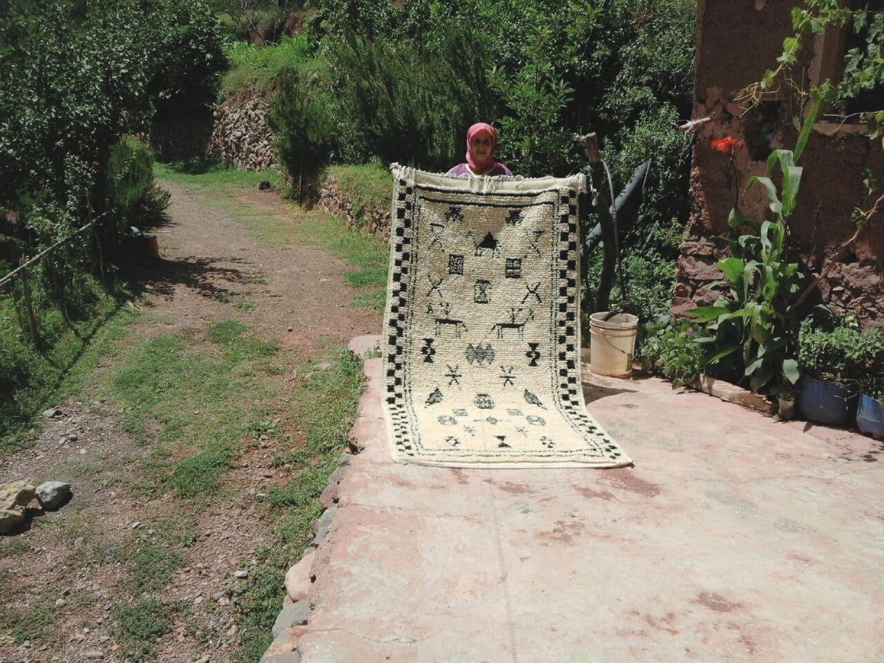 Pile Knot Rug Wool Grey, Black Morocco