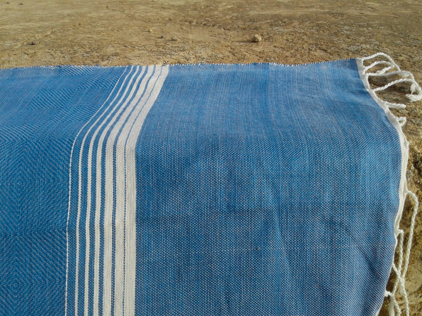 Towel Cotton Thread Blue, White Morocco
