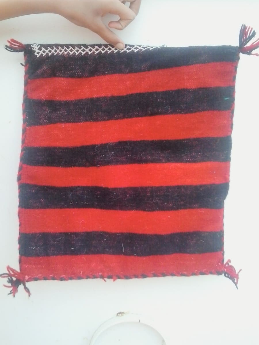 Pillow Wool Thread  and Wool Red, Black Morocco