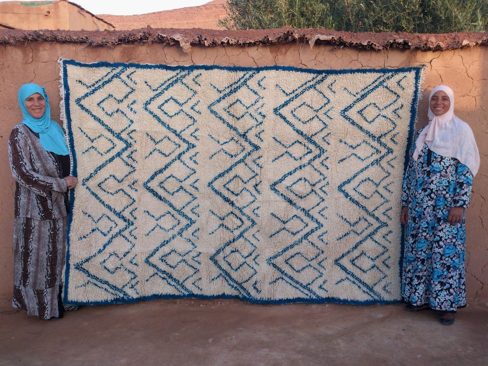 Pile Knot Rug  Light Blue, White Morocco