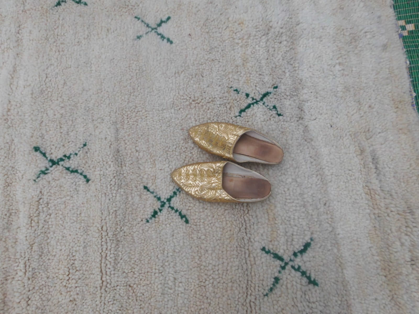 Pile Knot Rug  Green, White Morocco