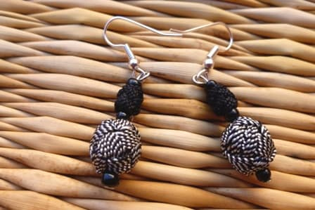 Ball and Button Earrings  Black, White Morocco