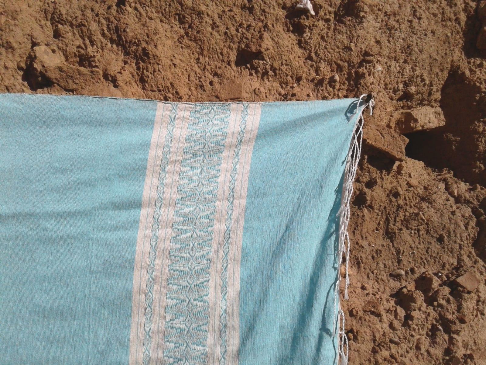 Towel Cotton Thread Light Blue, White Morocco