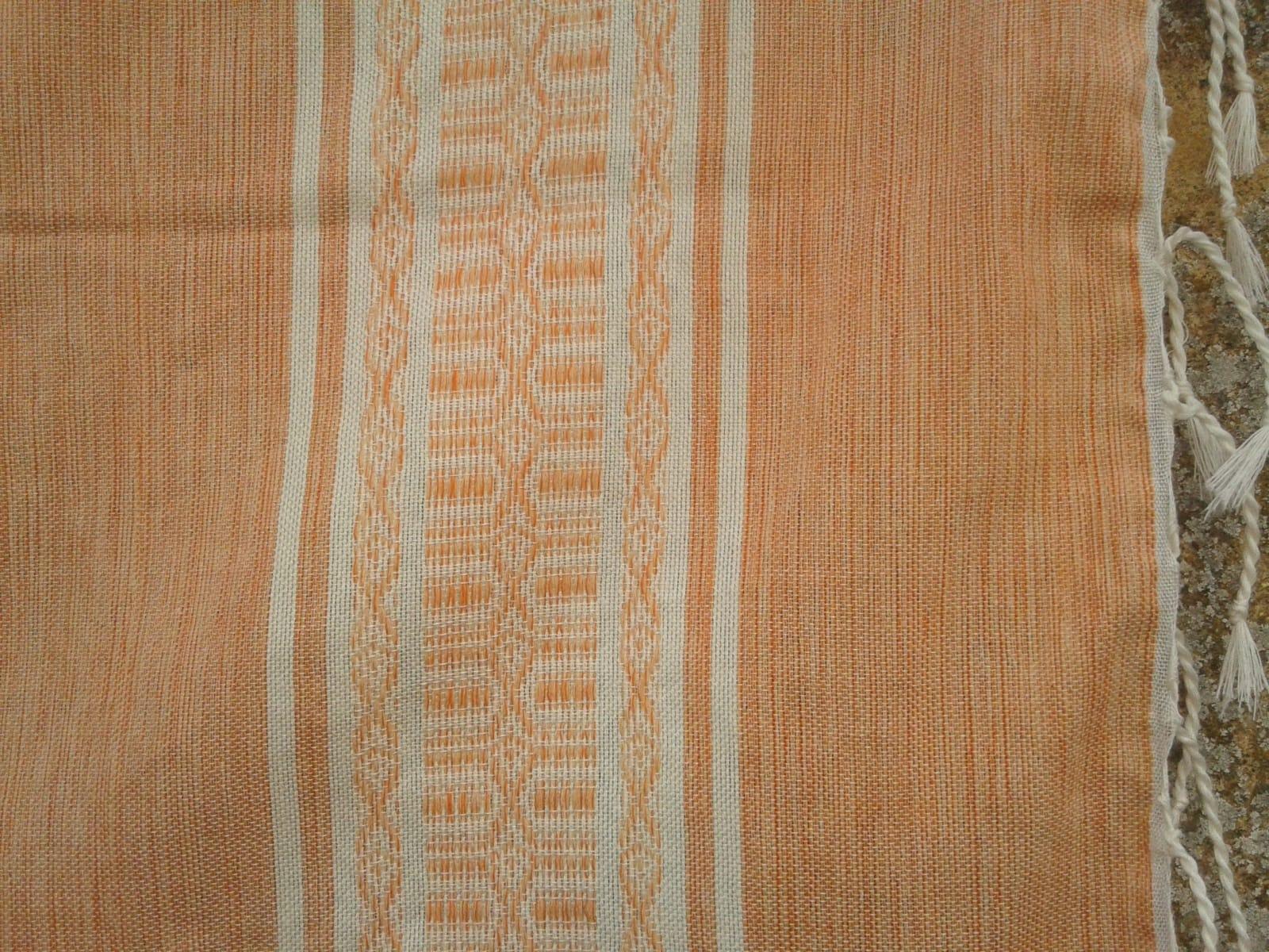 Shawl Cotton Thread Orange, White Morocco