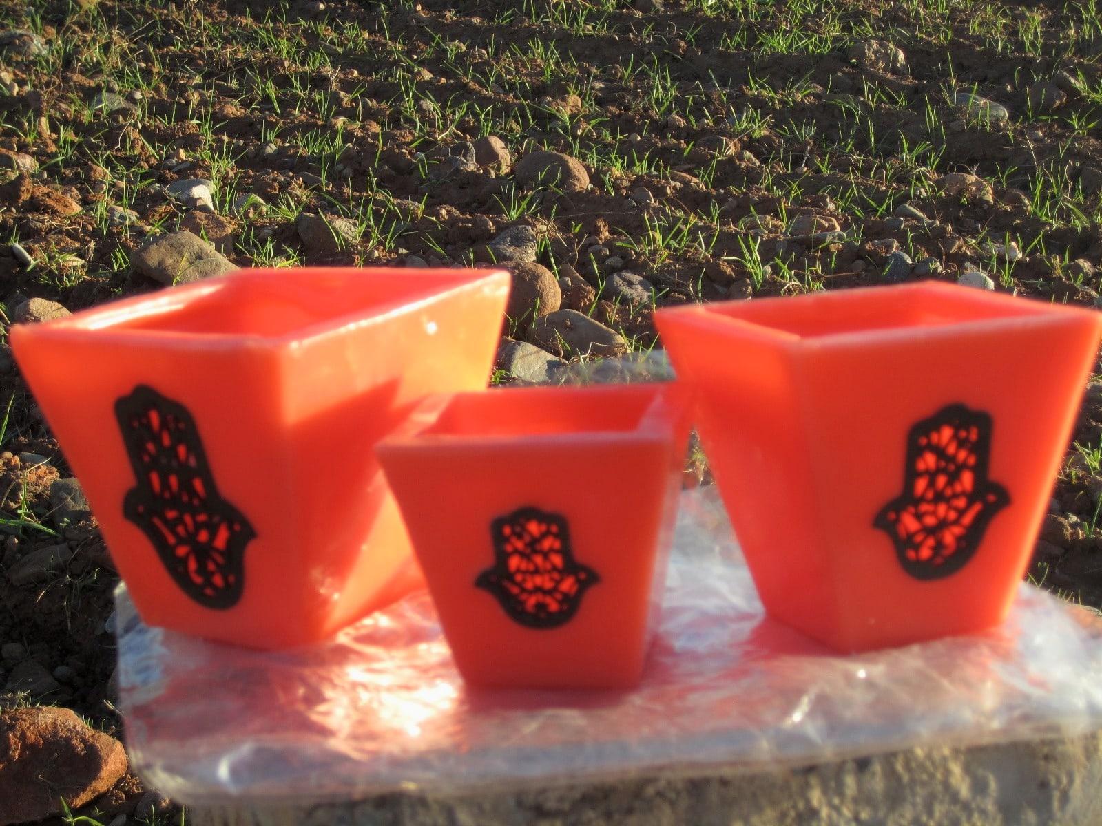 Cubic candle Dye, Wax, and Wood Orange Morocco