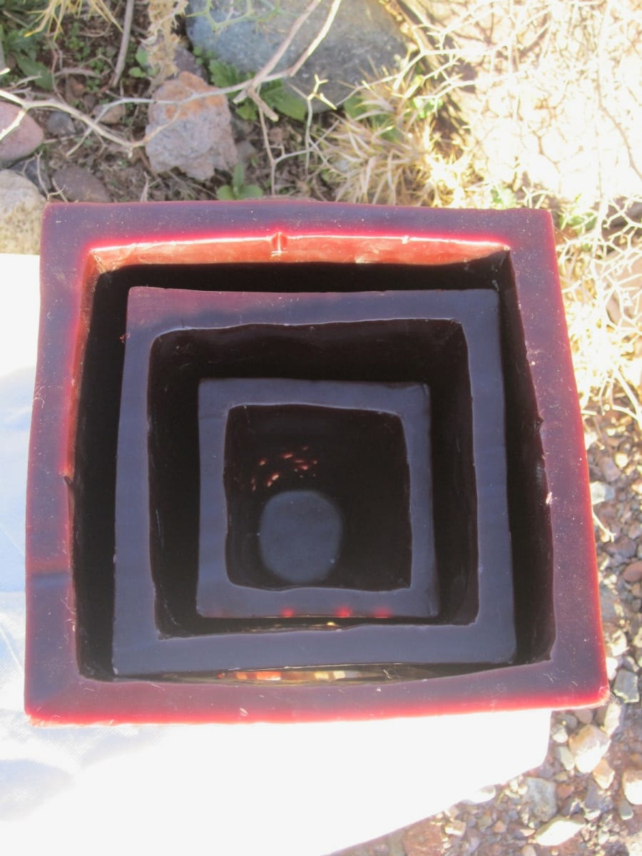 Cubic candle Dye, Wax, and Copper Red Morocco