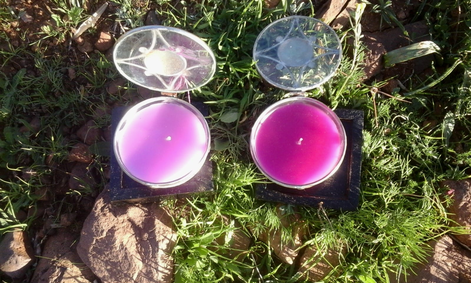 A candle Dye, Wax, and Glass cup Pink Morocco