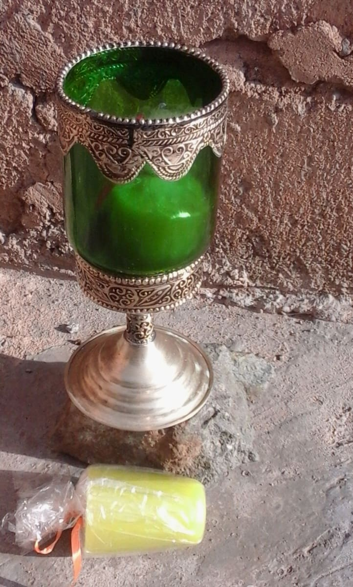 A candle Dye, Wax, and Glass cup Green Morocco