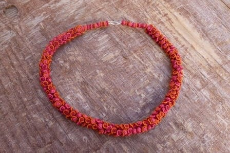 Cluster Necklace  Red, Orange Morocco