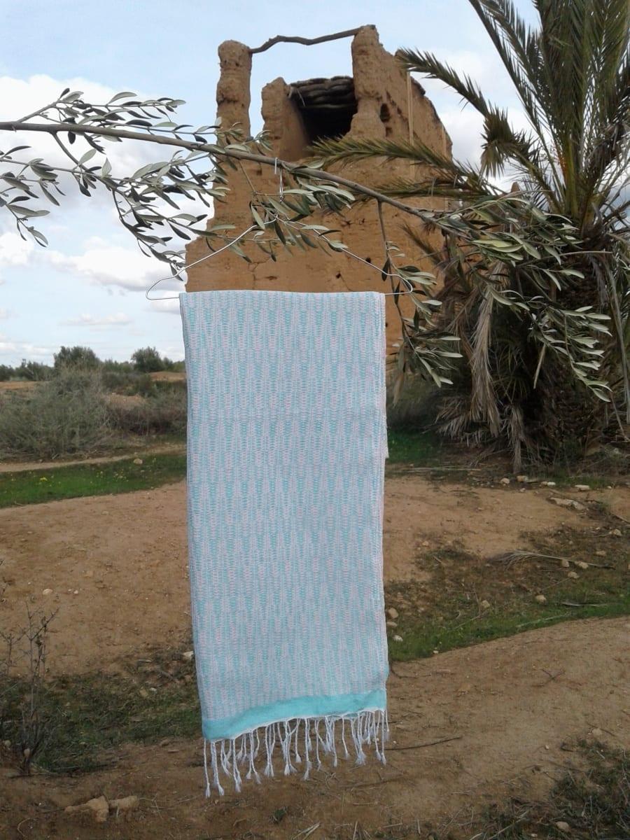 Shawl Cotton Thread Light Blue, Pink Morocco