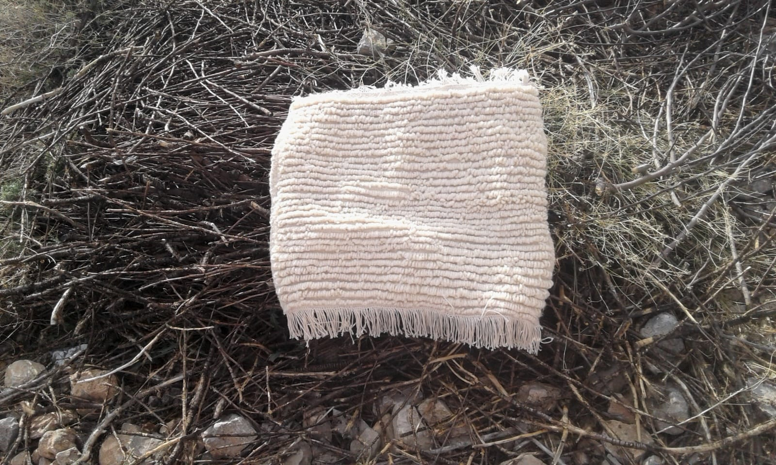 Azilal Rug Warp  and Wool Thread  White Morocco