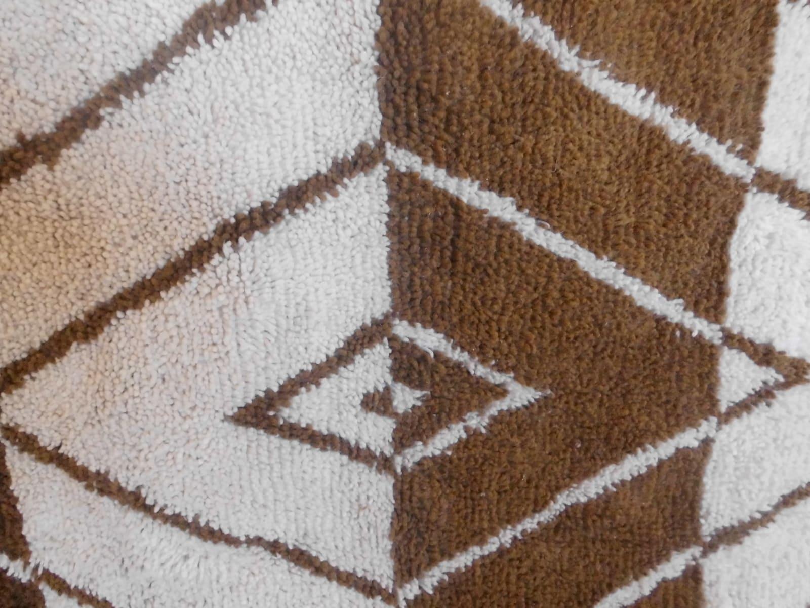 Pile Knot Rug  Brown, White Morocco